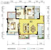 南湖凯旋广场3室2厅2卫96平方米户型图