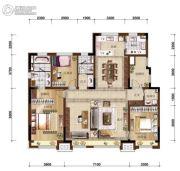 万科如园3室2厅2卫160平方米户型图