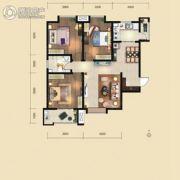 荣民宫园中央3室2厅1卫125平方米户型图