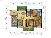 万象国际城3室2厅2卫124平方米户型图