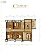 金科美邻汇4室2厅1卫131平方米户型图