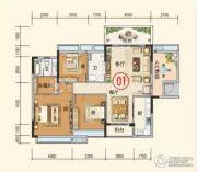 蕉岭奥园广场4室2厅2卫132平方米户型图
