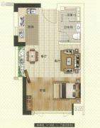 中海联智汇城1室1厅1卫44平方米户型图
