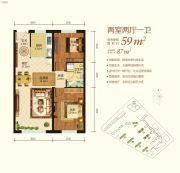 东方新天地2室2厅1卫0平方米户型图