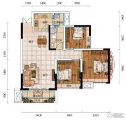 城中央3室2厅1卫77平方米户型图