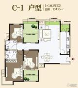 九龙城3室2厅2卫134平方米户型图