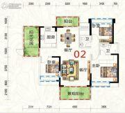 惠东国际新城3室2厅2卫124平方米户型图
