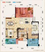 置地城二期・天玺3室2厅2卫87--88平方米户型图