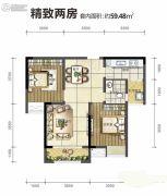旭阳台北城敦美里2室2厅1卫59平方米户型图