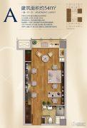 升龙汇金中心1室1厅1卫54平方米户型图