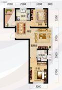 唐轩北廷2室2厅1卫75平方米户型图