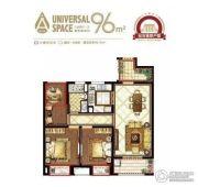 崇川星光域3室2厅1卫96平方米户型图