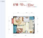 西安深国投中心1室2厅1卫56平方米户型图