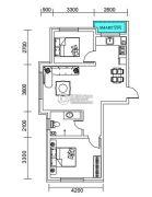 千翔尚城2室1厅1卫84平方米户型图