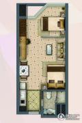 盐仓新天地1室2厅1卫55平方米户型图
