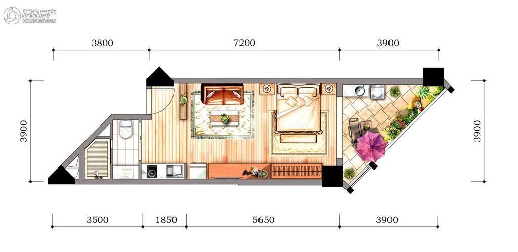 2#3#1房1厅1卫(开放阳台)