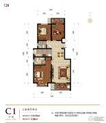 滨河龙韵3室2厅2卫114平方米户型图