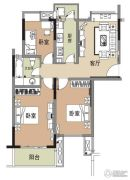 江雁德水香林3室1厅1卫90平方米户型图