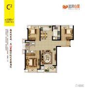 远洋心里3室2厅2卫100平方米户型图