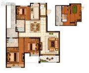 恒大悦珑湾3室2厅2卫180平方米户型图
