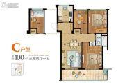 绿城・梧桐园3室2厅1卫90--100平方米户型图