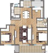 朗诗玲珑屿3室2厅1卫113平方米户型图