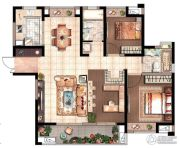 花园里2室2厅2卫0平方米户型图
