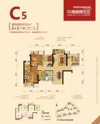 中海国际社区4室2厅2卫92平方米户型图