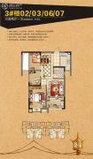 恒冠32°摩卡3室2厅1卫96平方米户型图