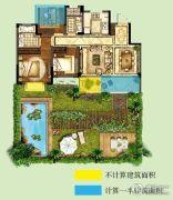 世茂招商语山3室2厅2卫89平方米户型图