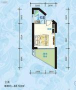 海悦长滩1室1厅1卫48平方米户型图