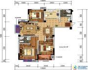 轩华・万华庭3室2厅2卫124平方米户型图