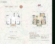 天元华雅花园3室2厅1卫107--114平方米户型图