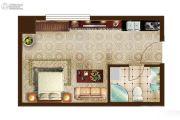 米加U天地1室1厅1卫35平方米户型图