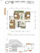合景香悦四季3室2厅2卫106平方米户型图