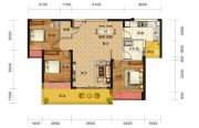 海雅缤纷城3室2厅1卫104平方米户型图
