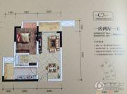 金融街融景城1室2厅1卫45平方米户型图