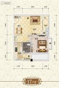 上官锦城1室1厅1卫60平方米户型图