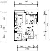 华发城建未来荟2室2厅1卫63平方米户型图