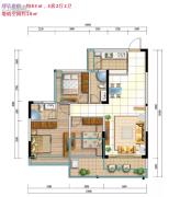 城市名庭3室2厅2卫83平方米户型图