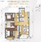 万科金域滨江3室2厅2卫107平方米户型图