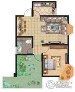 祥安东城国际花园1室2厅1卫80平方米户型图