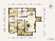 鹏利广场3室2厅2卫136平方米户型图