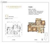 中天金融城国际社区3室2厅2卫102--107平方米户型图