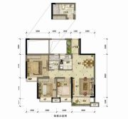 东方骏园3室2厅2卫89平方米户型图