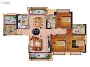 乐天峰公馆3室2厅2卫134平方米户型图