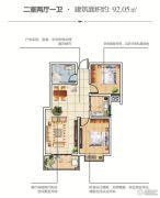 恒泰春天2室2厅1卫92平方米户型图