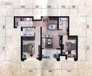 瀚海尊爵2室2厅2卫90平方米户型图