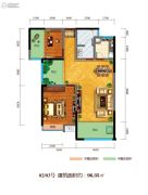 百江御城・龙脉2室2厅1卫96平方米户型图