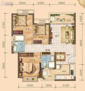 北海恒大雅苑3室2厅2卫95平方米户型图